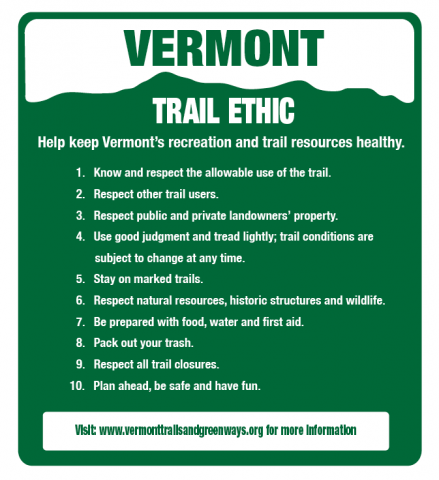Vermont Trail Ethics Details and Sign
